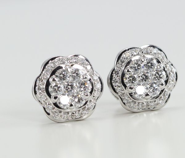 18k White Gold Invisible Setting Round Cut Diamond Flower Stud Earrings 1 02 Ct G Color Vs Clarity